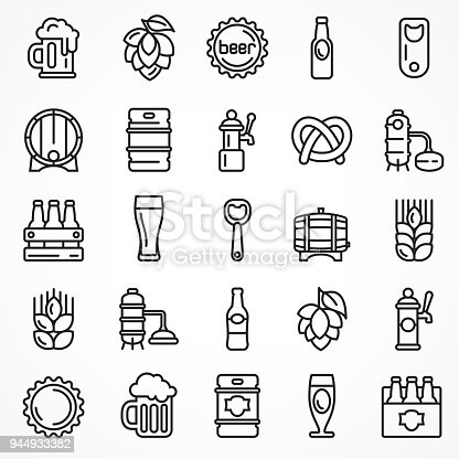 Set of linear beer icons isolated on white, for craft brewery. Vector illustration.