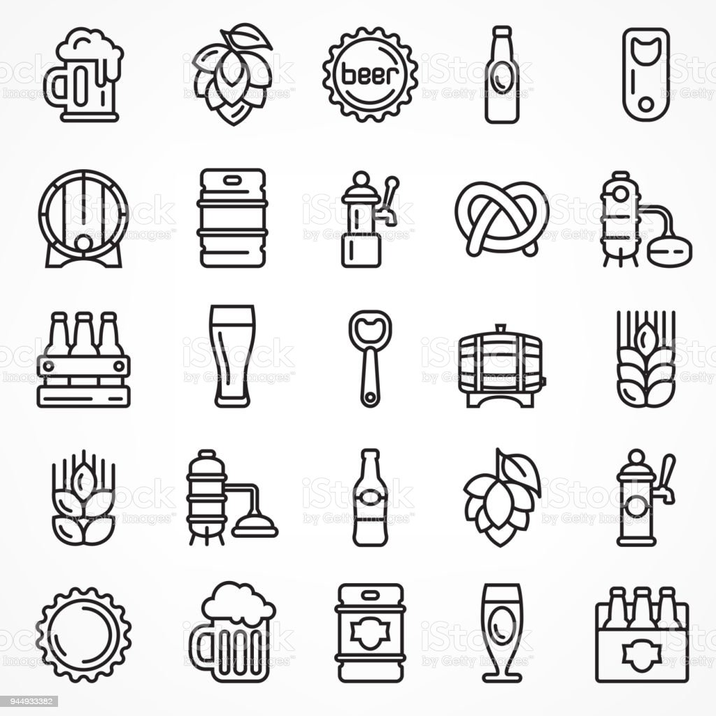 Set of linear beer icons. vector art illustration