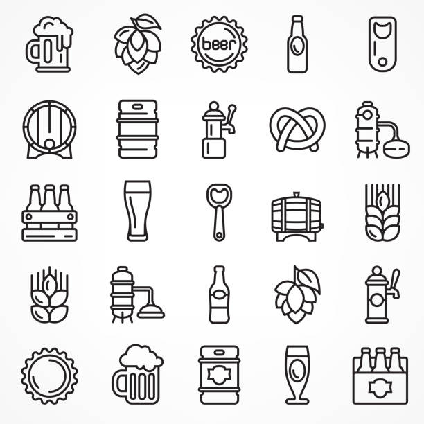 Set of linear beer icons. Set of linear beer icons isolated on white, for craft brewery. Vector illustration. ijsbeer stock illustrations