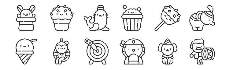 12 set of linear circus icons. thin outline icons such as drum, fortune teller, trapeze artist, caramel apple, seal, ice cream for web, mobile.