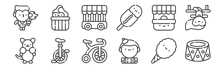 12 set of linear circus icons. thin outline icons such as platform, mime, monocycle, ticket office, jail, peanuts for web, mobile.