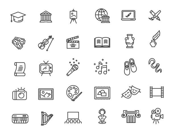 illustrations, cliparts, dessins animés et icônes de ensemble d'icônes de culture linéaire. icônes d'art dans le design simple. illustration de vecteur - art