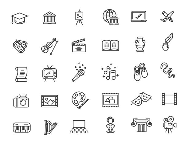 Set of linear culture icons. Art icons in simple design. Vector illustration Set of linear culture icons. Art icons in simple design. Vector illustration art stock illustrations