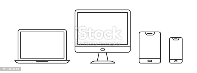 Set of linear device icons. Outline devices icons. Vector illustration. Gadgets in thin line style.