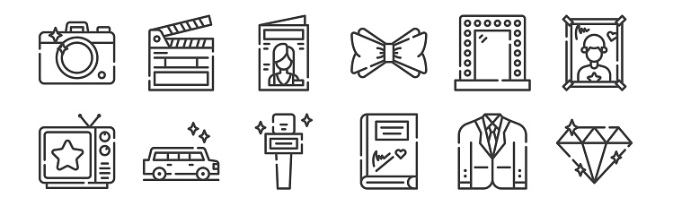 12 set of linear fame icons. thin outline icons such as diamond, autograph, limousine, mirror, magazine, clapperboard for web, mobile.