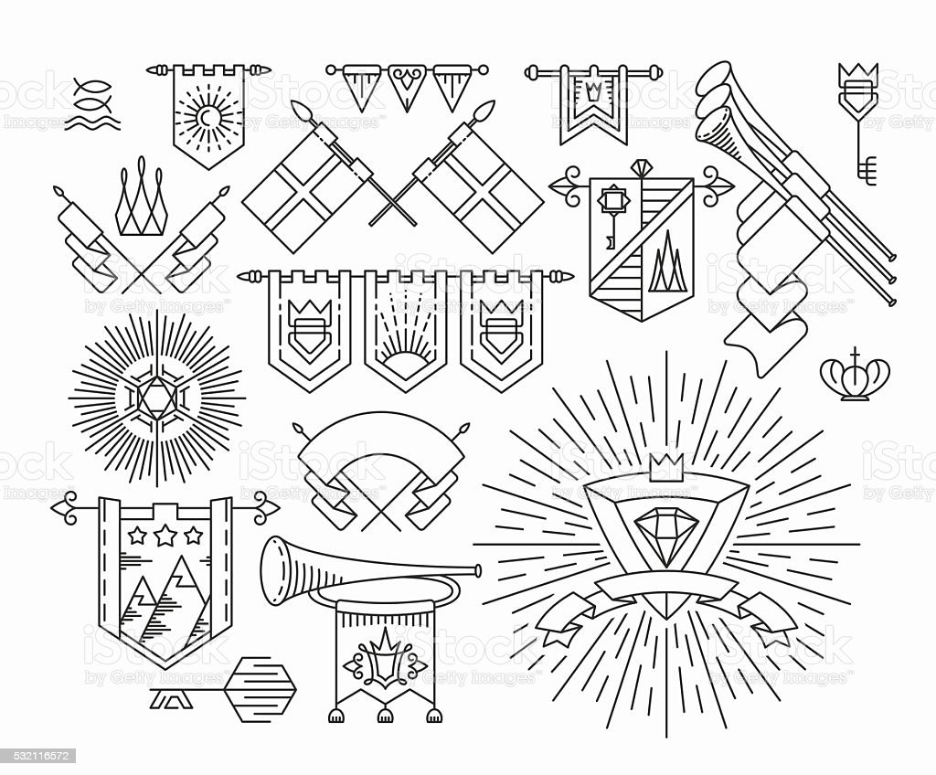 Set of linear graphical flags and royal design elements vector art illustration