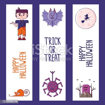 istock Set of linear Halloween bookmarks. 1248886346