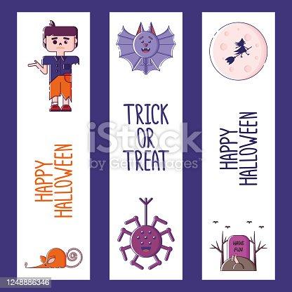 istock Set of linear Halloween bookmarks. 1248886346