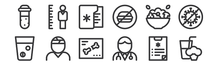 12 set of linear health icons. thin outline icons such as smoothie, doctor, injury, salad, medical records, height for web, mobile.
