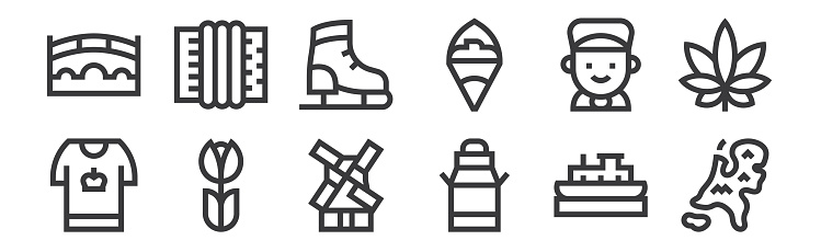 12 set of linear holland icons. thin outline icons such as holland, milk can, tulip, boy, ice skating shoes, accordion for web, mobile.