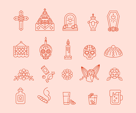Set of linear icons for celebration of Dia de Muertos. Day of The Dead - Mexican traditional symbols, outline style
