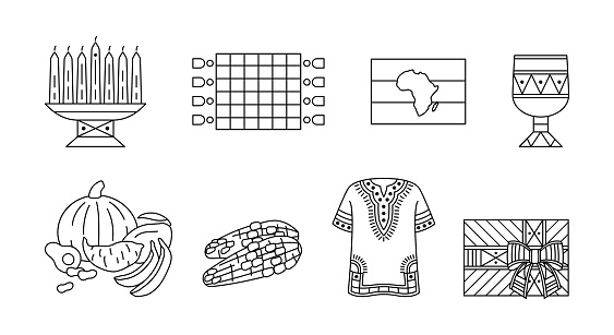 Set of linear icons for celebration of Kwanzaa. Kwanza, festival of african-american unity - outline traditional symbols