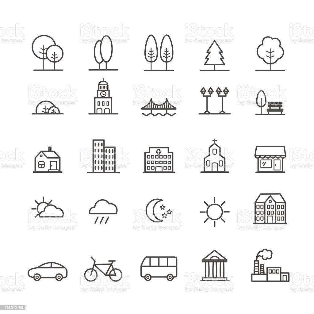 Set of linear icons of city landscape elements vector art illustration