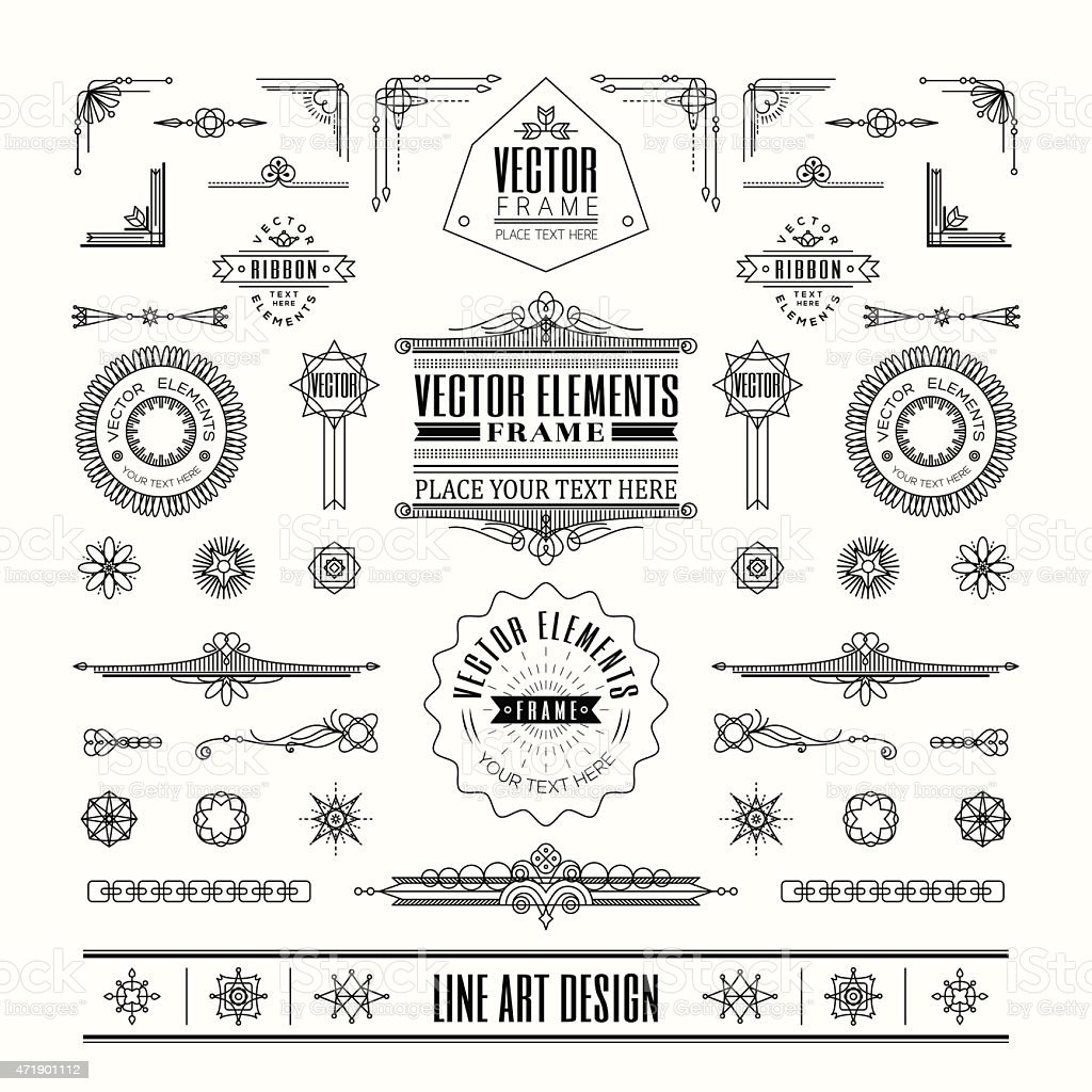 Set of linear line art deco retro vintage design elements vector art illustration