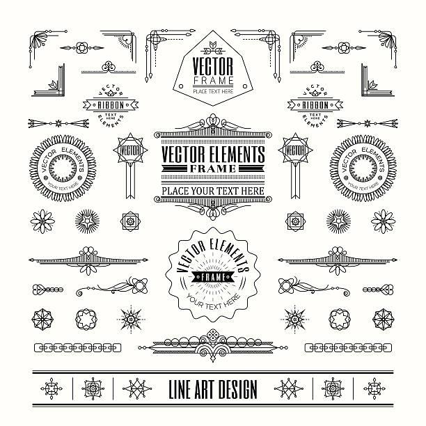 Set of linear line art deco retro vintage design elements vector art illustration