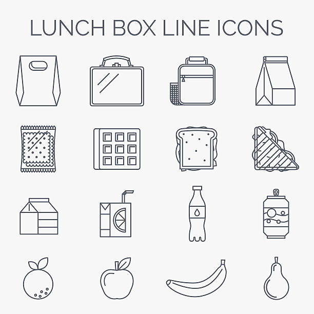 set of linear lunch icons. - lunch box stock illustrations, clip art, cartoons, & icons