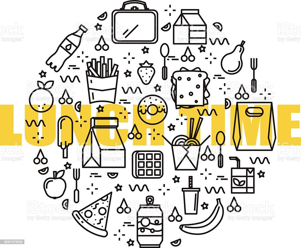 Set of linear lunch icons. vector art illustration