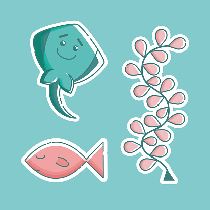 Set of linear marine stickers.