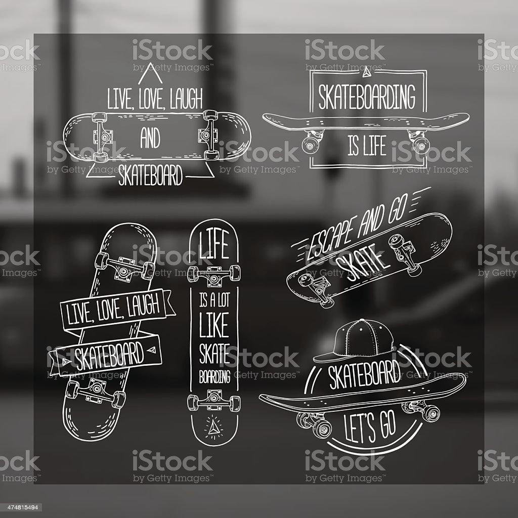 のリニア、モダンなロゴ、ステッカー、スケートボードおよびキャップます。 ベクターアートイラスト