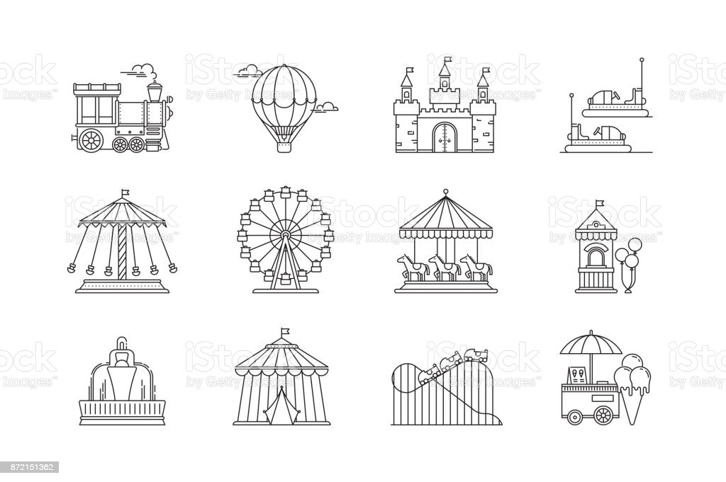 Set of linear park icons vector flat elements. Amusement park objects isolated on white background. Park with ferris wheel, circus, carousel, attractions.