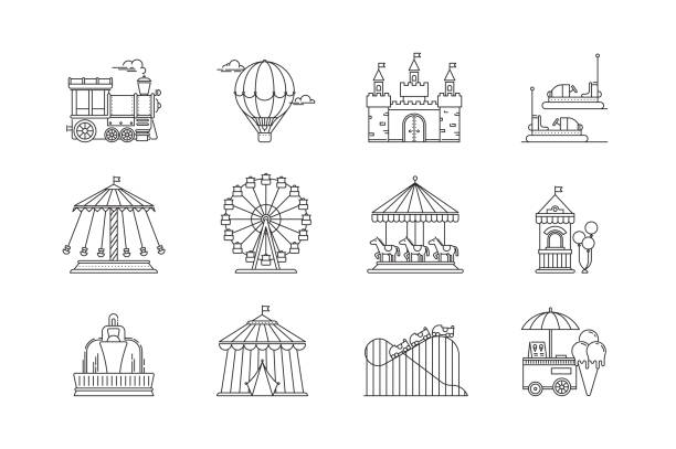 illustrazioni stock, clip art, cartoni animati e icone di tendenza di set of linear park icons vector flat elements. amusement park objects isolated on white background. park with ferris wheel, circus, carousel, attractions. - luna park