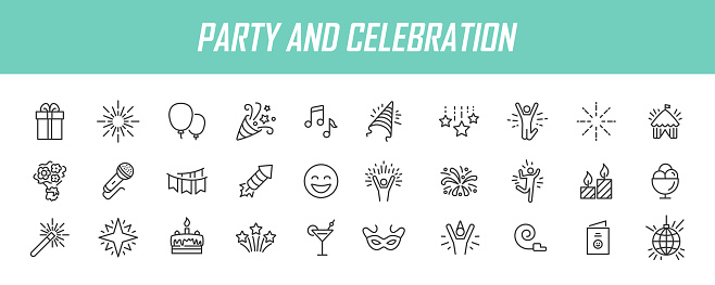 Set of linear party icons. Celebration icons in simple design. Vector illustration