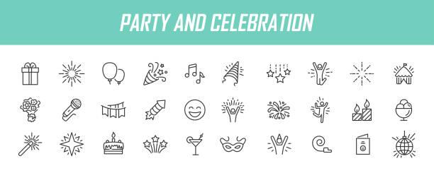 bildbanksillustrationer, clip art samt tecknat material och ikoner med uppsättning linjära partiikoner. celebration ikoner i enkel design. vektorillustration - firande