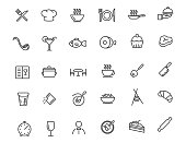 Set of linear restaurant icons. Food icons in simple design. Vector illustration