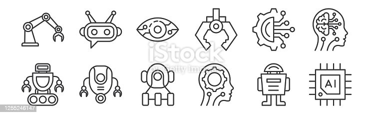 12 set of linear robotics icons. thin outline icons such as chip, artificial intelligence, robot, circuit, vision, chatbot for web, mobile
