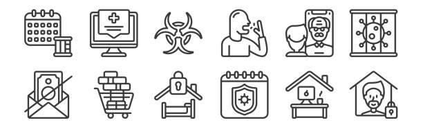 illustrations, cliparts, dessins animés et icônes de 12 ensembles d'icônes linéaires d'auto-isolement. icônes de contour mince tels que la quarantaine, la quarantaine, l'achat en vrac, facetime, biohazard, assistance médicale pour le web, mobile. - facetime