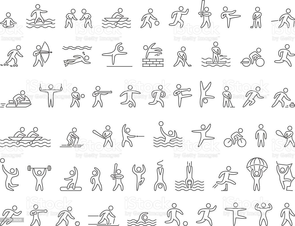 Set of linear shapes popular sports athletes. Vector icons. vector art illustration