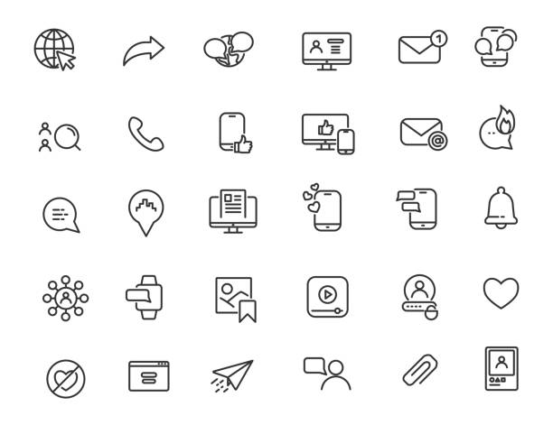 Set of linear social media icons. Internet icons in simple design. Vector illustration Set of linear social media icons. Internet icons in simple design. Vector illustration social media icons stock illustrations