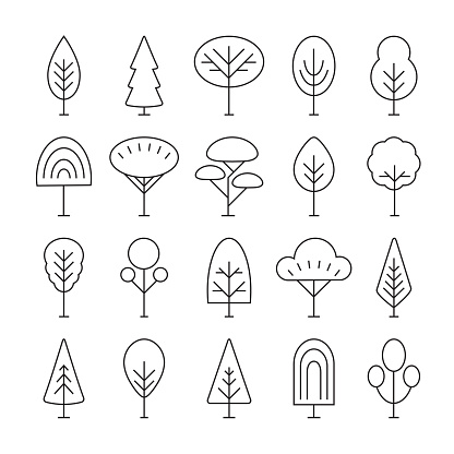 Set of linear tree icons, forest, park and garden tree