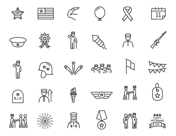 Set of linear Veterans Day icons. Military icons in simple design. Vector illustration Set of linear Veterans Day icons. Military icons in simple design. Vector illustration saluting stock illustrations