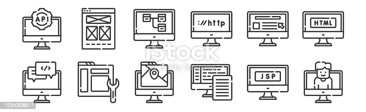 12 set of linear web development icons. thin outline icons such as user, backend, maintenance, website, sitemap, wireframe for web, mobile
