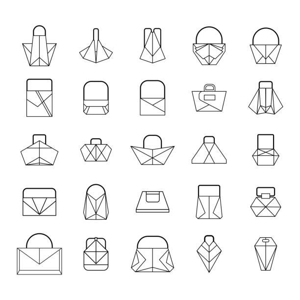 satz von linien-tasche - lederranzen stock-grafiken, -clipart, -cartoons und -symbole