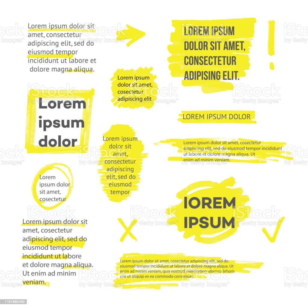 A set of lines or strokes and shapes, marks and spots, underlines and frames from the yellow marker or highlighter. - Grafika wektorowa royalty-free (Abstrakcja)