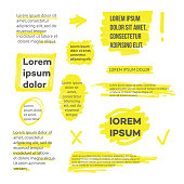 A set of lines or strokes and shapes, marks and spots, underlines and frames from the yellow marker or highlighter. Vector isolated illustration in sketch hand drawing style of yellow marker.
