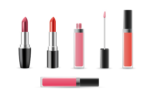 Set of lip gloss and lipstick templates open and closed isolated on white background