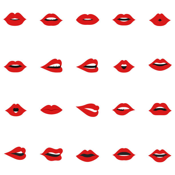 Set of lips icon Set of lips icon human lips stock illustrations