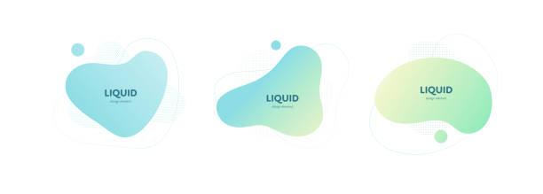 ilustrações de stock, clip art, desenhos animados e ícones de set of liquid abstract banner templates. pastel color collection. - amiba