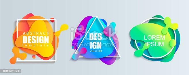 Set of liquid gradient color abstract geometric shapes.Modern banner with fluid design.Circle, triangle and square frames with wavy brighr splashes.Ready template for web, print, covers, design.