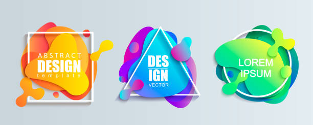 set of liquid gradient color geometric shapes. - shapes stock illustrations