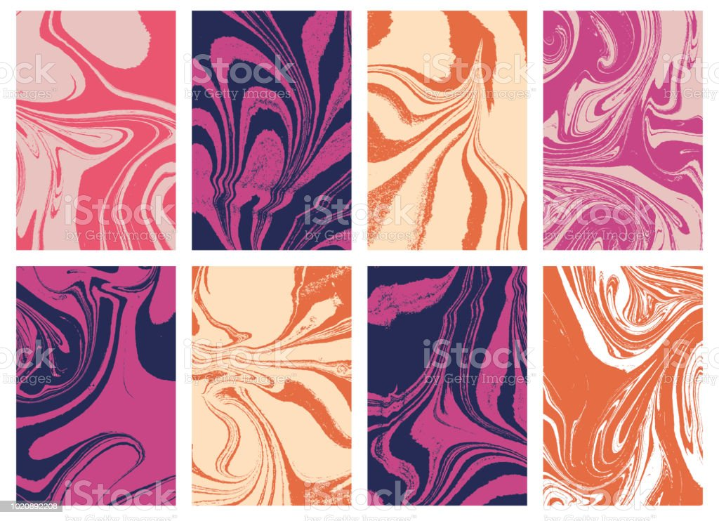 Set of liquid marble texture in color. Swirls and ripples of stone. Fluid art Ebru  template for design covers, fashion posters, business cards, presentation, invitation, makeup flyers. Vector. vector art illustration