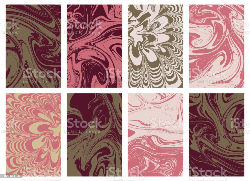 Satz Von Flüssigen Textur Marmor In Der Farbe Wirbel Und