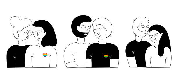 a set of lisbian couple, gay couple and heterosexual couple - отвести взгляд stock illustrations