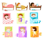 Collection set of cute little girls and boys sleeping in their beds. Slippers lie near the bed. Children resting concept. Colorful vector flat isolated icons set on white background.