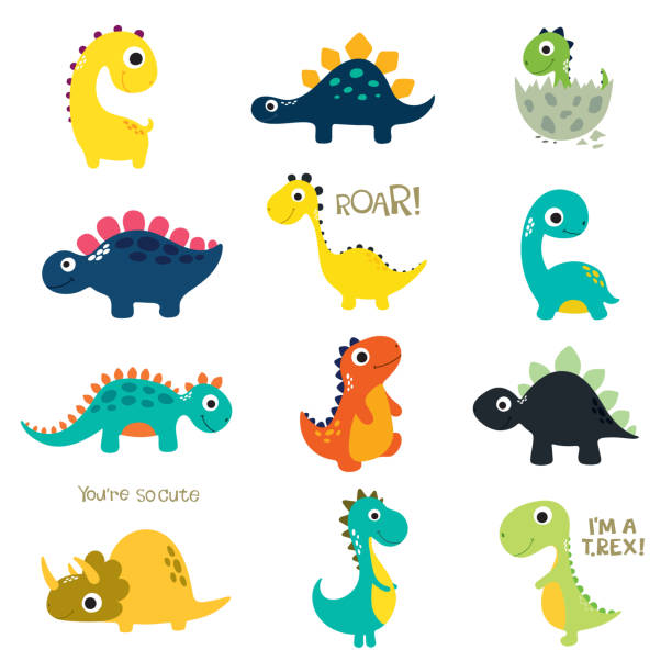 set of little cute dinos - baby animals stock illustrations