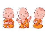 Set of little meditating monks.