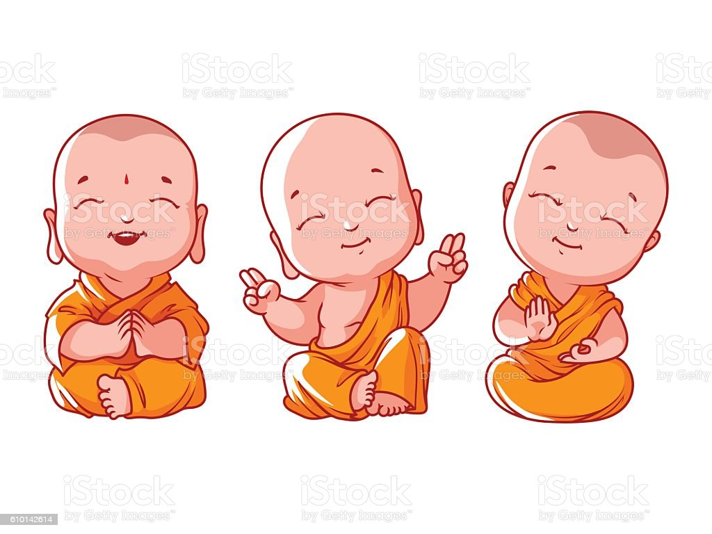 Set of little meditating monks. vector art illustration